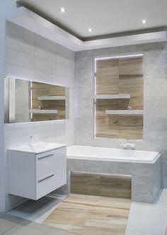 mała łazienka, optycznie powiększenie podłogi