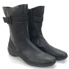 Ecco Black Leather Zip Up Ankle Mid Calf Riding Boots Womens Size 40 Euro US 9 | eBay