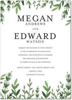 Whether it's a rustic, garden or an elegant outdoor wedding, we love everything green on this wedding invitation and think it suits any wedding style.