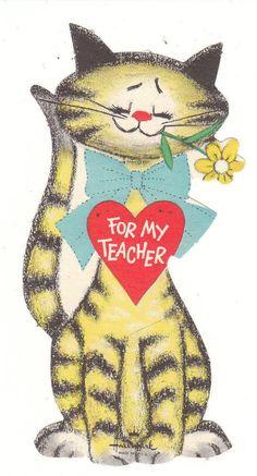 Vintage Valentine Card Tabby Cat with Flower For Teacher Hallmark