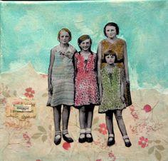 Our little Escape vintage girls sisters mixed by MaudstarrArt