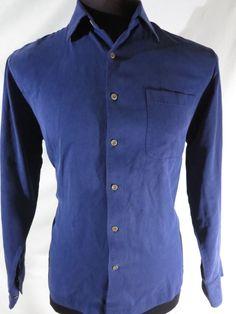 Nat Nast Luxury Originals Mens Medium Long Sleeve Silk Shirt Blue #NatNast