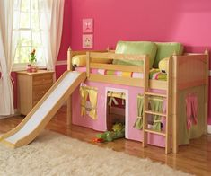 ★ Buy Maxtrix kids furniture twin or full size marvelous and wow low loft bed in white, natural or chestnut finish. ★ Wide Selection of Maxtrix childrens low loft beds and princess castle bed