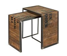 Set de 2 mesas nido de madera de mango y metal Groove
