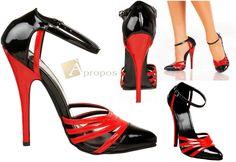 High Heels Pumps 15cm D'Orsay Stilettos Abendschuhe Italy Lack Rot Schwarz