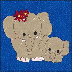 patterns for quilt appliques | Elephant Applique Block Quilt Pattern by…
