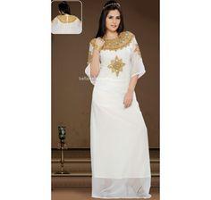 White Faux Georgette Fashionable #Kaftan