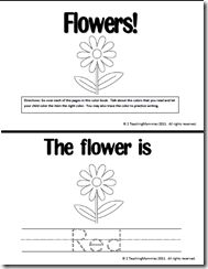 Printable flower book about colors. (they also have a counting flowers book)