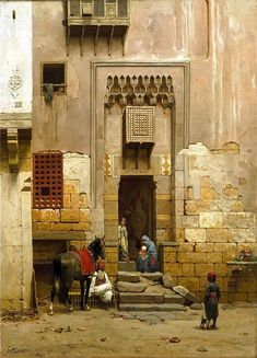 Courtyard of a House in Cairo 1859  By Willem de Famars Testas - Dutch 1834 - 1896 Oil on canvas