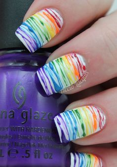 Spun Sugar Rainbow - nail art tutorial the best way to the nails of the futur Really Cute Nails, Cute Nail Art, Beautiful Nail Art, Beautiful Pictures, Fabulous Nails, Gorgeous Nails, Pretty Nails, Amazing Nails, Spring Nails