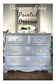 You will love this stunning gray painted dresser makeover using Jolie Paint. There are added elements like gilding paint and beautiful appliques that really add to the elegance of this piece! #thatsweettealife #joliepaint #joliehome #graypainteddresser #paintedfurniture Painted Furniture For Sale, Colorful Furniture, Paint Furniture, Unique Furniture, Shabby Chic Furniture, Furniture Update, Diy Furniture Projects, Furniture Makeover, Furniture Painting Techniques