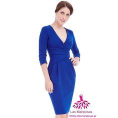 d937738a390a 💙Lara Midi κρουαζέ μπλε φόρεμα💙 Pleated Midi Dress