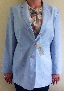 BNWT - Womens Slimtru Light Blue Padded Suit Jacket Size 14