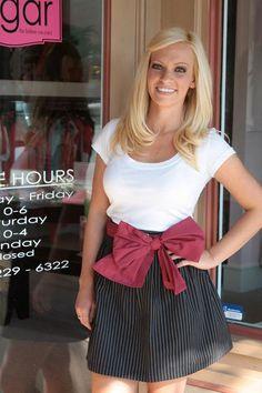LK Darling Bow Skirt - Black Pinstripe Garnet Bow...Sugar Botique
