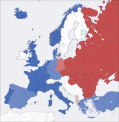 de kaart van Europa tijdens de koude oorlog.
