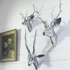 polished silver faux deer head - Google Search