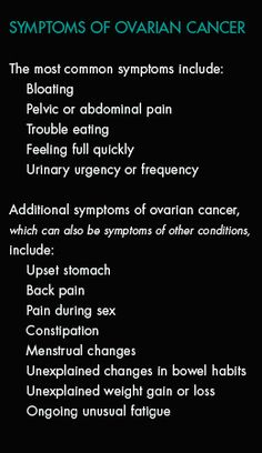 Symptoms of Ovarian Cancer - My 17 year old daughter, Ashley Elizabeth Wood, died 2/22/2005 from ovarian cancer.  Please be aware of the symptoms and remember that this ugly disease can strike woman of any age!