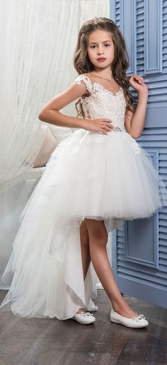 Chic Tulle & Satin Jewel Neckline A-Line Hi-Lo Flower Girl Dresses With Lace Appliques