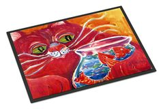 Big Red Cat at the fishbowl Indoor or Outdoor Mat 18x27 Doormat