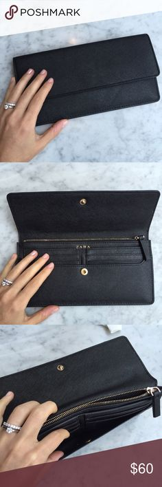 """❤️ZARA NWOT BLACK WALLET Zara wallet // New Without Tags // Never Used // Measurements: 9.5"""" * 5"""" // 5 slots for credit cards (1 of them clear for ID) one zipper slot // 3 slots for money, receipts and things // Super Chic and very functional!! // Subtle luxury is the only luxury. // 15% off on 2 or more item bundles // I ship same-day from pet/smoke-free home. Buy with confidence. I am a top seller here for a reason. 😊😎 Zara Accessories"""