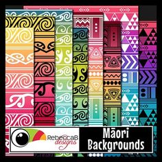 Maori Backgrounds contains 28 letter size patterned backgrounds with a contemporary take on traditional Maori patterns. Inspired by Koru, Kowhaiwhai and Tukutuku. There are 4 different patterns in 7 color combos. Import into PowerPoint and place frames, text and clip art over the top to create fun product covers, worksheets, activities, posters and other teaching resources. Maori Backgrounds by RebeccaB Designs.