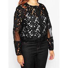 Stylish Black Hollow Out Gauze Spliced Long Sleeve Crochet Coat For Women