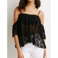 $9.76 Stylish 3/4 Sleeve Off-The-Shoulder Hollow Out Lace Women's Blouse