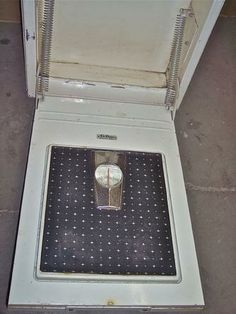 Another in wall bathroom scale for your mid-century home. Nutone fold down scale, in old used condition. Some distress to painted housing, but easily restored if you wish.