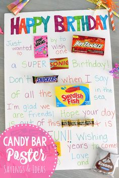 Candy Posters-Looking for ideas for a candy poster for a birthday? Use these ideas (and we have more) to put together a personalized one for someone you love! #birthday #birthdays #birthdaygift #gifts #birthdaygiftideas #happybirthday #candyposter #candy