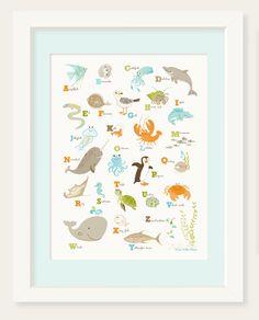Ocean Themed Nursery, Sea Nursery, Nautical Nursery, Nursery Wall Decor, Nursery Art, Nursery Prints, Bedroom Wall, Nursery Ideas, Alphabet Wall Art