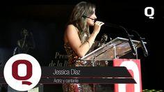Jessica Díaz, actriz y cantante, recibe gustosa el Premio Q a la excelencia, agradece además a los medios de comunicación que se dan la oportunidad de abrir foros para los nuevos