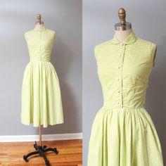 1950s Dress  Green Stripe Full Skirt 50s by OldFaithfulVintage, $75.00