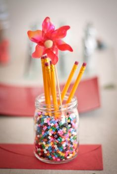centerpiece back to school could use for NPC and MTT also WBL School Centerpieces, School Decorations, Table Decorations, Pta Programs, Teacher Appreciation Luncheon, Teacher Breakfast, Back To School Crafts, Volunteer Gifts, School Fundraisers