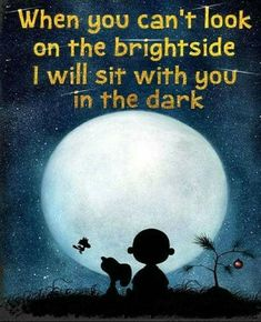 "Saying Snoopy & Charlie Brown ""When you can't look on the bright side"" Home Decor Print,Great Gift Child Birthday, Office Art,Nursery Print"