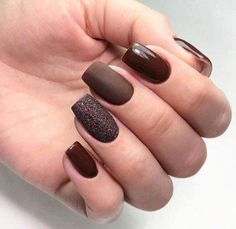 What Christmas manicure to choose for a festive mood - My Nails Shellac Nails Fall, Manicure, Fall Acrylic Nails, Matte Nails, Uñas Color Cafe, Hair And Nails, My Nails, November Nails, Nagel Gel
