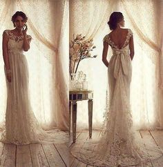 2014 Vintage Crew Wedding Dresses Sheer Lace Cap Sleeve Bow V Back Bridal Gowns. i love the bow and all the lace