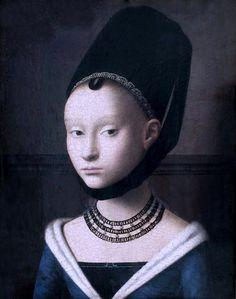 Petrus Christus. 1410-1473. Bruges.  Portrait d'une jeune dame . Berlin Gemäldegalerie.   Petrus Christus. From 1410 to 1473. Bruges. Portrait of a young lady. Berlin Gemäldegalerie.