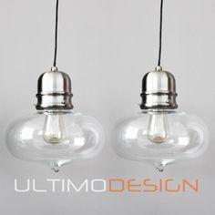 PAIR OF NICKEL GLASS VINTAGE INDUSTRIAL CAFE CEILING PENDANT LAMPS hanging light in Home & Garden, Lighting, Fans, Pendant Lighting | eBay