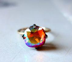 Handmade Sunrise Crystal Ring in Sterling by RachelPfefferDesigns