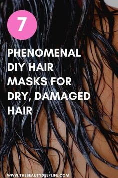 Transform damaged, frizzy, dry hair into the soft, beautiful, silky mane you've been wishing for with these 7 easy DIY hair masks. All these recipes work to repair overworked hair with super moisturizing and nourishing ingredients. mask for dry hair diy Hair Masks For Dry Damaged Hair, Dry Frizzy Hair, Repairing Hair Mask, Diy Hair Repair Mask, Diy Hair Mask For Dry Hair, Damaged Hair Repair Diy, Hair Scalp, Curly Hair, Moisturizing Hair Mask