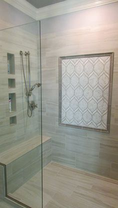Tiled Shower With Accent Frame, Niches And Bench. Tile And Installation By  Exact Tile