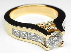 Modern Round Diamond Engagement ring princess diamonds band in Yellow Gold - ES550PRBRYG
