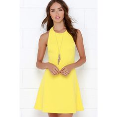 Count On Me Yellow Halter Dress ($30) ❤ liked on Polyvore featuring dresses, yellow, lulus dresses, open back halter dress, yellow halter dress, halter top and textured dress