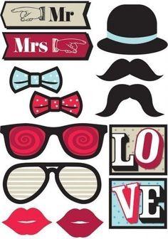 Усы, губы, маски из бумаги. Шаблоны для вечеринки