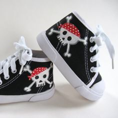 Boys Pirate Shoes, Skull and Crossbones, Children's Hand Painted Black Hi Top Sneakers, Baby and Toddler, Kids Pirate Baby, Goth Baby, Baby Painting, Cool Mom Picks, Baby Sneakers, Skull And Crossbones, Painted Shoes, Cool Baby Stuff, Trendy Baby