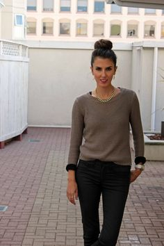 neutral outfit with INPINK necklace
