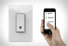 The new Wemo Light Switch is another great device by Belkin, it allows you to turn lights on and off from any place in the world. All you need to do is replace your existing light switch with the WiFi-enabled Wemo and you can control your lights remotely via the free app on your smartphone or tablet. You can customize schedules like turning on your porch light after dark, or program your lights to turn on at sunset and off at sunrise.