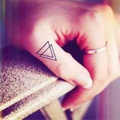 Double Triangle Tattoo on Finger.