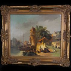 "Lot #226: Cornelis Christian Dommersen (Dutch 1842-1928) Oil on Wood Panel  This Oil on Panel Painting by Old Master Cornelis Christiaan Dommersen depicts a vibrant and lively view of amsterdam (?) Signed ""CC Dommershuizen"" (Lower right)  CIRCA: 19th ORIGIN: Netherlands DIMENSIONS: 31 1/2″ x 27 1/2″"