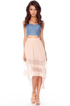 Love this chambray bustier and high waste skirt.
